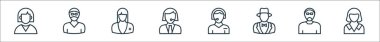 Professions line icons. linear set. quality vector line set such as maid, robber, magician, nurse, icon