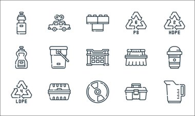 Plastic products line icons. linear set. quality vector line set such as measuring cup, cd, recycle, toolbox, packaging, sauce, cleaning brush, recycle, car toy icon