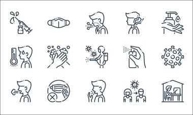 Virus spread line icons. linear set. quality vector line set such as quarantine, cough, sneeze, pandemic, mask, fever, cleaning spray, sore throat, mask icon
