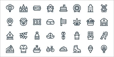 Holland line icons. linear set. quality vector line set such as braid, ice skating shoes, bike, bridge, chocolate, beer, barn, holland, lion icon