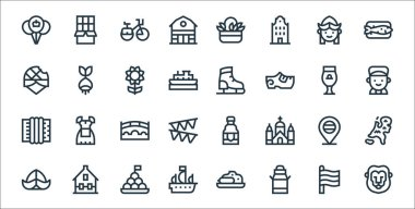 Holland line icons. linear set. quality vector line set such as lion, milk can, boat, hat, holland, bridge, boy, ice skating shoes, bulb icon