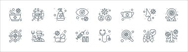 Coronavirus line icons. linear set. quality vector line set such as no flight, bacteria, injection, germs, runny nose, hand sanitizer, coronavirus, warning icon