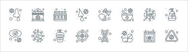 Coronavirus line icons. linear set. quality vector line set such as alert, tablet, germs, infected, warning, test tube, hand sanitizer, closed icon