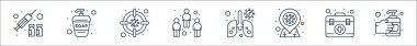 Coronavirus line icons. linear set. quality vector line set such as hand sanitizer, first aid kit, infection, infected lungs, people, germs, hand washer icon