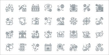 Coronavirus line icons. linear set. quality vector line set such as coronavirus, infected lungs, website, washing hands, doctor, ambulance, hand wash, travel warning, cough icon