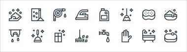 Cleaning line icons. linear set. quality vector line set such as soap, glove, rake, clothes, sponge, water hose, detergent, washing powder icon