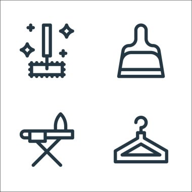 Cleaning line icons. linear set. quality vector line set such as clothes hanger, ironing board, scoop icon
