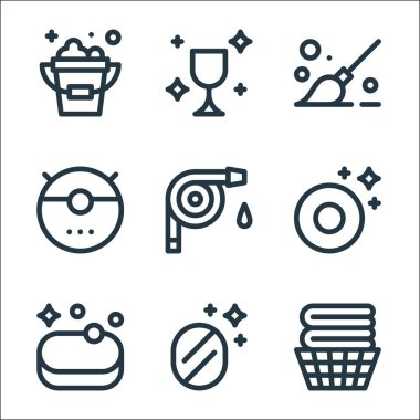 Cleaning line icons. linear set. quality vector line set such as clean clothes, mirror, soap, plate, water hose, vacuum cleaner, mop, wineglass icon