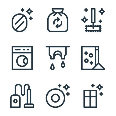 Cleaning line icons. linear set. quality vector line set such as window, plate, vacuum cleaner, washing powder, clothes, washing machine, mop, trash icon