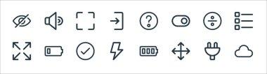 User interface line icons. linear set. quality vector line set such as cloud, move, bolt, maximize, divide, maximize, question, speaker icon