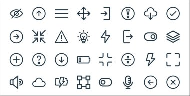 User interface line icons. linear set. quality vector line set such as multiply, microphone, transform, speaker, bolt, down, layer, bolt, minimize icon