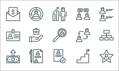 human resources line icons. linear set. quality vector line set such as favorite, resume, salary, goal, contract, id card, collaboration, interview, graph