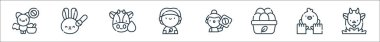 Animal welfare line icons. linear set. quality vector line set such as goat, animal care, organic eggs, activist, vegan, cow, animal testing icon