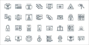 Hacker line icons. linear set. quality vector line set such as fraud, hacker, bitcoin, skull, access, pin code, fingerprint scan, personal data, spy icon