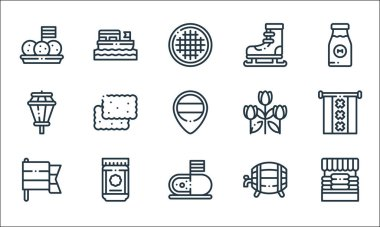 Holland line icons. linear set. quality vector line set such as cheese market, cheese, holland, beer, speculoos, street lights, tulips, ice skating, boat icon