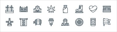 Holland line icons. linear set. quality vector line set such as holland, stroopwafel, street lights, windmill, holland, farm, milk, rijksmuseum icon