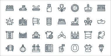 Holland line icons. linear set. quality vector line set such as street lights, rookworst, accordion, beer, holland, farm, clogs, boat, holland icon