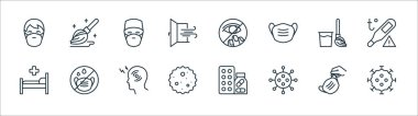 Stop virus line icons. linear set. quality vector line set such as coronavirus, virus, germ, hospital bed, broom, doctor, eye, mop icon