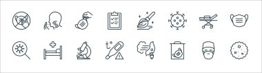 Stop virus line icons. linear set. quality vector line set such as germ, medical mask, temperature, virus, bed, medical mask, mop, head icon