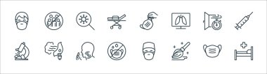 Stop virus line icons. linear set. quality vector line set such as hospital bed, mop, mask, microscope, window, virus, medical mask, gathering icon