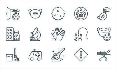 Stop virus line icons. linear set. quality vector line set such as bed, mop, broom, emergency, drugs, nose, mask, medical mask icon