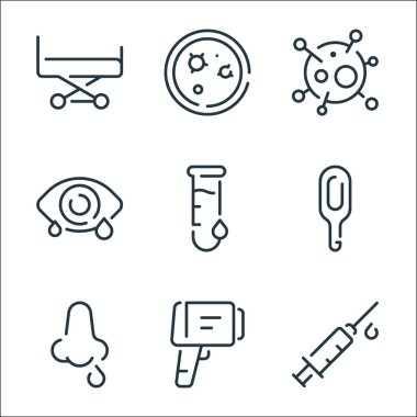 Virus transmission line icons. linear set. quality vector line set such as syringe, temperature control, nose, thermometer, test tube, eye, virus, petri dish icon