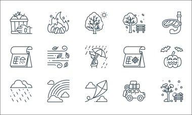 Flat season line icons. linear set. quality vector line set such as park, kite, rainy, travel, rainbow, rainy day, winter, park, bonfire icon