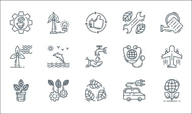 Environment and eco line icons. linear set. quality vector line set such as ecology, leaf, flower pot, electric car, ecology, wind energy, earth, repair tools, wind power icon