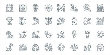Environment and eco line icons. linear set. quality vector line set such as smart house, balance scale, repair tools, save water, solution, fuel station, factory, electric bicycle, fuel pump icon