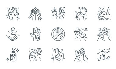 Washing hand line icons. linear set. quality vector line set such as washing, washing, alcohol gel, towel, germs, no handshake, hands icon