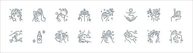 Washing hand line icons. linear set. quality vector line set such as washing, washing, germs, germs, towel icon