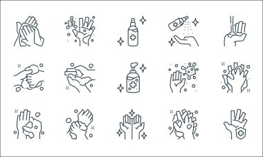 Washing hand line icons. linear set. quality vector line set such as hand protection, hands, washing, washing, germs, cleaning spray, germs icon
