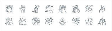 Washing hand line icons. linear set. quality vector line set such as hands, germs, germs, washing, washing, alcohol gel, hand protection icon
