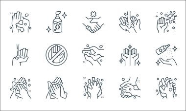 Washing hand line icons. linear set. quality vector line set such as washing, washing, towel, alcohol gel, hands, alcohol gel icon