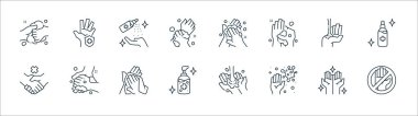Washing hand line icons. linear set. quality vector line set such as do not touch, germs, alcohol gel, no handshake, alcohol gel, cleaning spray, washing, hand protection icon