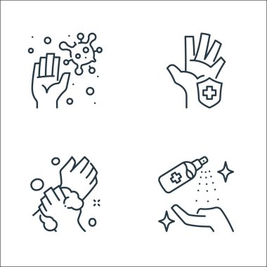Washing hand line icons. linear set. quality vector line set such as cleaning spray, washing, hand protection icon