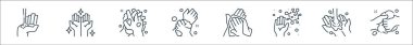 Washing hand line icons. linear set. quality vector line set such as washing, washing, germs, towel, hands icon