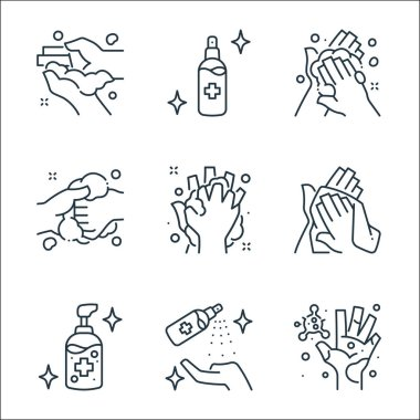 Washing hand line icons. linear set. quality vector line set such as germs, cleaning spray, alcohol gel, towel, washing, washing, alcohol icon