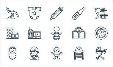 Maternity line icons. linear set. quality vector line set such as baby stroller, baby boy, baby boy, chair, gynecologist, medicines, scale, pregnancy test, onesie icon