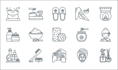 Spa line icons. linear set. quality vector line set such as aromatic, manicure, essential oil, brush, cream, honey jar, depilation, acupuncture icon