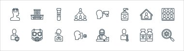 Covid line icons. linear set. quality vector line set such as coronavirus, thermometer, coronavirus, shield, stay home, blood test, thermometer, hospital icon