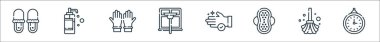 Hygiene routine line icons. linear set. quality vector line set such as clock, mop, sanitary pad, hand wash, window cleaning, rubber gloves, liquid soap icon