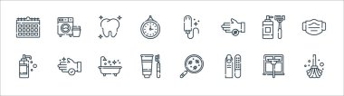 Hygiene routine line icons. linear set. quality vector line set such as mop, manicure, tooth hygiene, liquid soap, shaving razor, tooth, tampon, washing machine icon