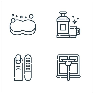 Hygiene routine line icons. linear set. quality vector line set such as window cleaning, manicure, mouthwash icon