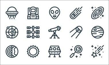 Space line icons. linear set. quality vector line set such as shooting star, lunar module, earth, research, sun, radar, sputnik, meteorite, astronaut icon