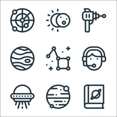 Space line icons. linear set. quality vector line set such as book, mars, ufo, constellation, jupiter, blaster, eclipse icon