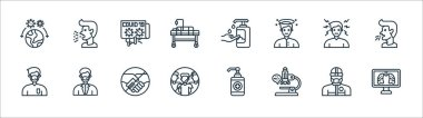 Coronavirus line icons. linear set. quality vector line set such as human lungs, microscope, no group, medical mask, headache, news report, hand sanitizer, cough icon