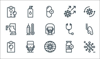 Virus infection and line icons. linear set. quality vector line set such as virus, global, report, medicine, man, thermometer, stethoscope, virus, alcohol icon