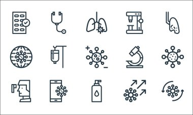 Virus infection and line icons. linear set. quality vector line set such as virus, alcohol, thermometer, virus, smartphone, global, microscope, microscope, stethoscope icon