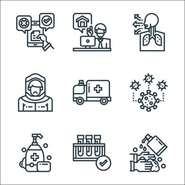 Coronavirus line icons. linear set. quality vector line set such as washing hands, test tube, soap, coronavirus, ambulance, protective clothing, cough, working at home icon